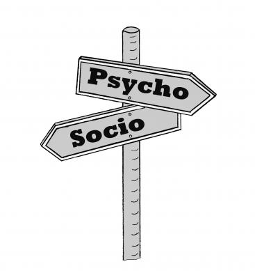 Street signs that show the way to Psycho or Socio