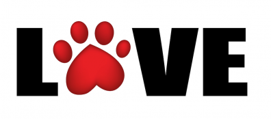 Paw print and the word love