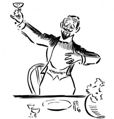 An illustration of a gentleman raising a glass