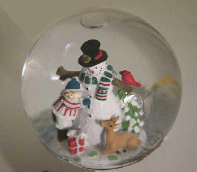 Snowman in a snow globe.