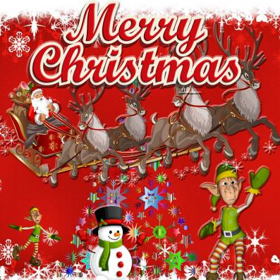 Christmas image of Santa, reindeer, snowman and elves.
