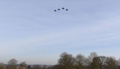 A Flypast to honour 10 U.S. Airmen.