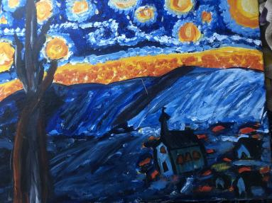 My creation of a classic, Van Gogh's Starry Night.
