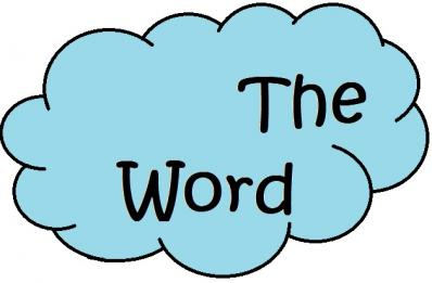 Text 'The Word' in Blue Cloud