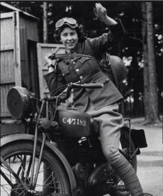 A dispatch rider from World War II.