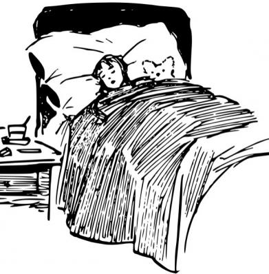 A girl sleeping in a feather bed