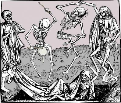 An illustration of skeleton revelry