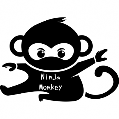 Left facing shadow monkey signature with words on shirt for Ninja Monkeys
