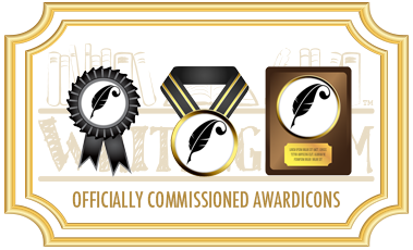 An image illustrating the custom awardicons for The Quill Awards