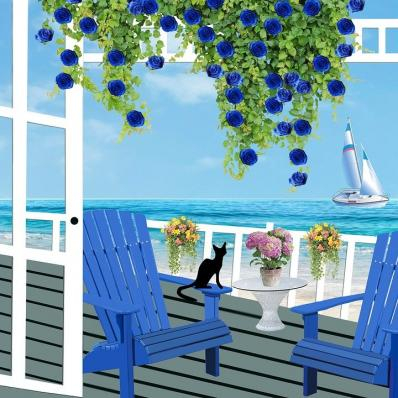Blue Patio Sailing Scene Image ~ Auction