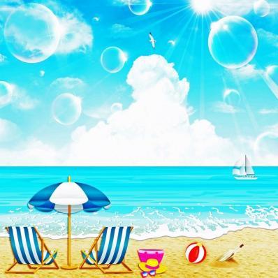 Blue Beach Sailing Scene Image ~ Raffle