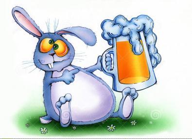 Pub Bunny Drinking Sarsaparilla!
