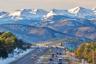 A view of the Continental Divide from Interstate 70 looking west from the Genessee exit.
