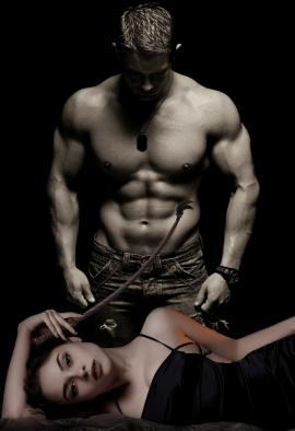 Woman laying with whip and shirtless man standing over her