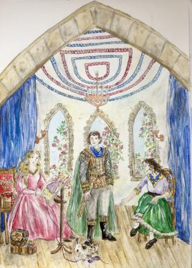 An illustration of Peter, Angela and Princess Shaleia, three fantasy story characters