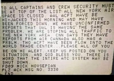 Actual message received by airplanes
