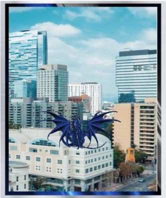 Dragon blue in busy city