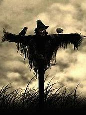 Scarecrow with crows